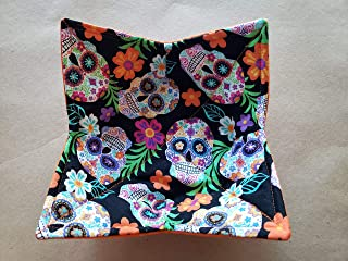 Tropical Sugar Skulls Microwave Bowl Cozy Día de Muertos Reversible Microwaveable Cozy Pot Holder Day of the Dead Bowl Holder Mexican Halloween Kitchen Linens Gifts Under 10 Handmade Hostess Gift