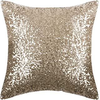 PONY DANCE Sparkling Throw Pillow - Sequin Cover Solid Cushion Cover Glitter Pillow Case with Sequins Including Hidden Zipper Design for Xmas, 18 inches (45 x 45 cm), Light Gold, One Piece