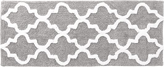 "Lavish Home Trellis Bathroom Mat, Silver, 24"" x 60"""