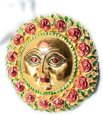 Shree Metal Wall Hanging Lord Surya,Size-LXH 20X20 cm, White Metal Gold Plated,for Wall Hanging Home Decor &Gift Purpose.