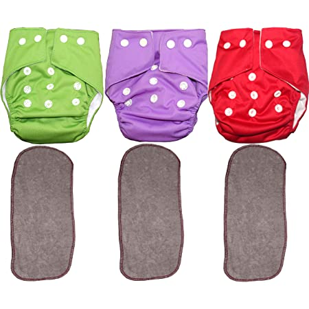 Bottom Genius Reusable Pocket Cloth Diapers for Babies Set of 3 with 3 Number Microfiber Inserts