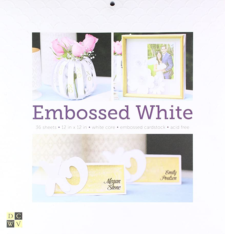 American Crafts 12 x 12 Inch Embossed White 36 Sheets Die Cuts with a View Stacks, 12