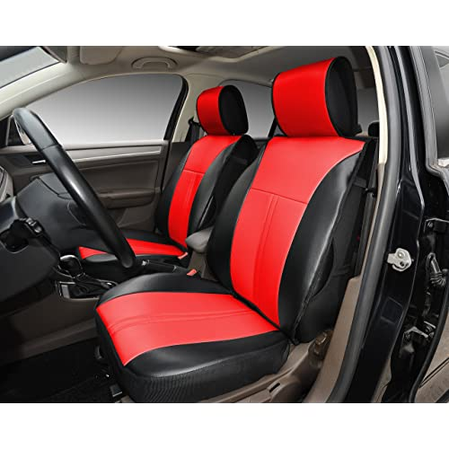 180208S Black/red-2 Front Car Seat Cover Cushions Leather Like Vinyl, Compatible