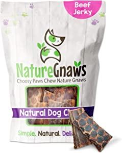 Nature Gnaws Beef Jerky Bites for Small Dogs - Premium Natural Treats - Simple Single Ingredient Tasty Dog Chews - Rawhide Free - 3-4 Inch (50 Count) Bulk Pack