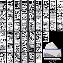 48 Pieces Journal Planner Stencils Plastic Bullet Stencil with A6 File Bag, Steel Ruler and 2 Pieces Metal Key Rings for N...