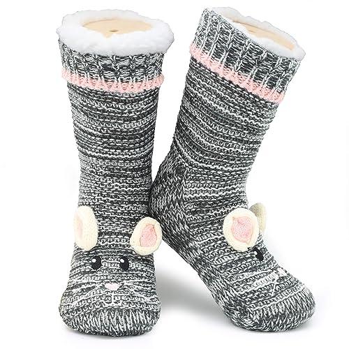 875b94a2975 Slipper Socks 3D Novelty Cute Animal Knitted Extra Warm Slippers Super Soft Winter  Wool