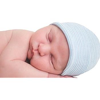 Newborn Baby Infant Striped Soft Hat with Bow Cap Hospital Boy Girls Beanie Hats