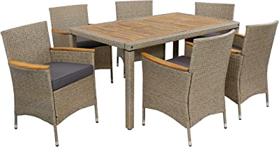 Amazon Com Sunnydaze Foxford Outdoor Dining Set 7 Piece Rattan And Acacia Outside Patio Furniture 1 Table And 6 Chairs With 6 Thick Seat Cushions Backyard Garden Seating Sunnydaze Decor Garden Outdoor