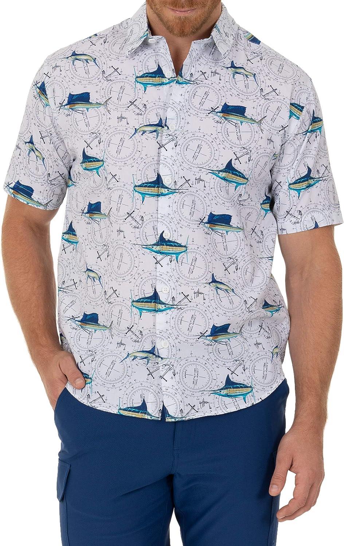 Guy Harvey Men's Printed Short Sleeve Woven Shirt