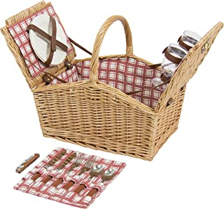 Best Choice Products 2-Person Wicker Double Lid Picnic Basket W/Flatware, Glasses, Plates- Red/White