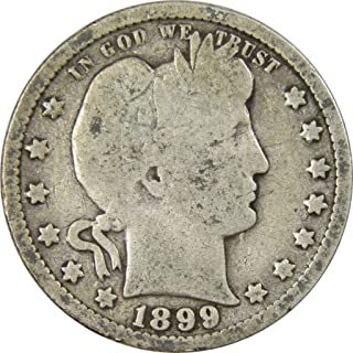 1899 25c Barber Silver Quarter US Coin Average Circulated