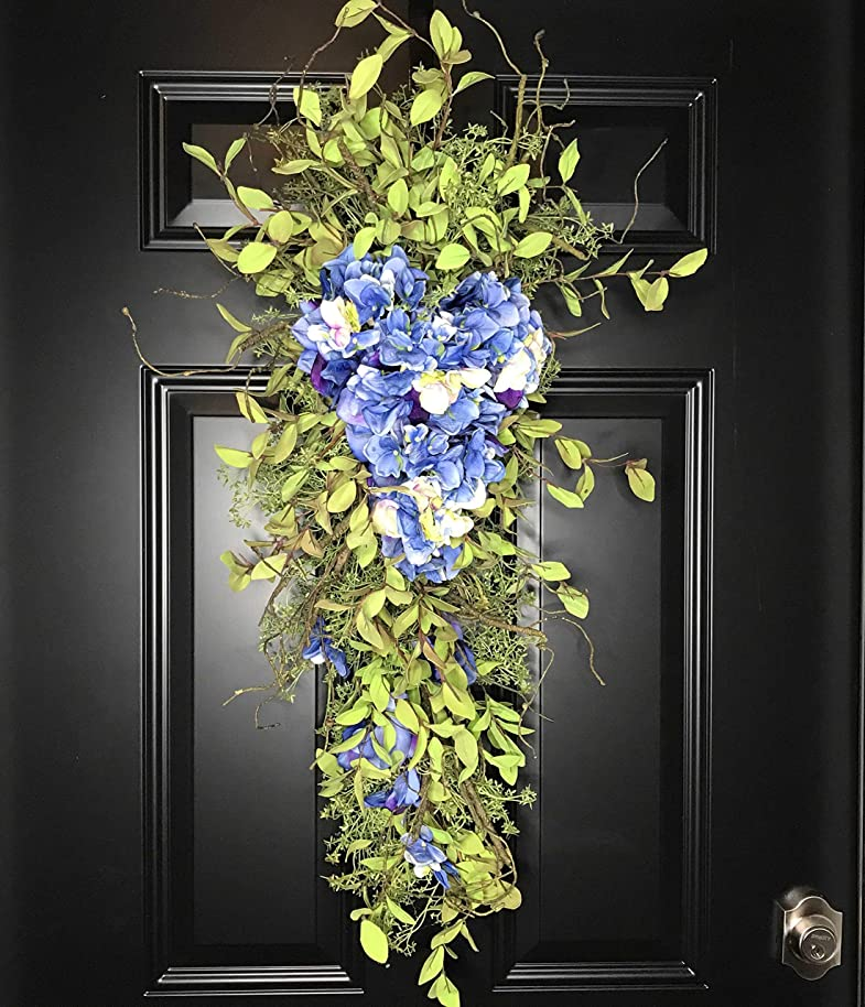 Extra Large Handmade Hydrangea Vertical Teardrop Swag Wreath for Front Door Porch Indoor Wall Decor Spring Springtime Summer Summertime Mother's Day Easter, Handmade, Blue White & Green, 32