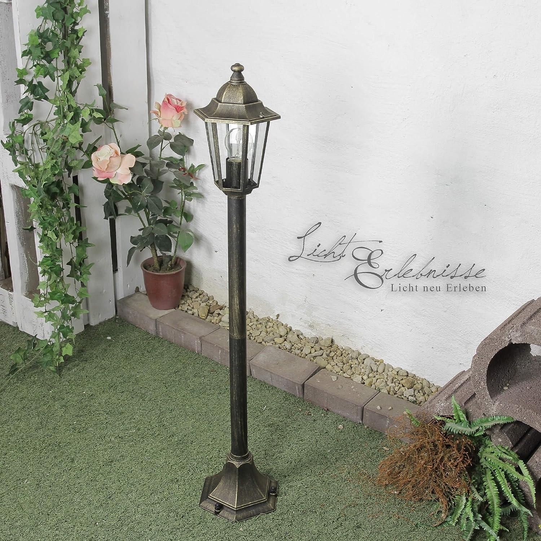 Rustikale Standleuchte in antikGold inkl. 1x 12W E27 LED 230V Stehleuchte aus Aluguss & Glaseinstze Stehlampe für Garten Terrasse Garten Terrasse Lampen Leuchte Beleuchtung auen