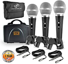 Pyle 3 Piece Professional Dynamic Microphone Kit Cardioid Unidirectional Vocal Handheld MIC with Hard Carry Case & Bag, Holder/Clip & 26ft XLR Audio Cable to 1/4'' Audio Connection (PDMICKT34)