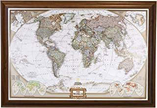 Push Pin Travel Maps Executive World with Brown Frame and Pins 24 x 36