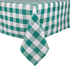 PALADY Green Checkered Tablecloth,60 x 104 Inch,Rectangle/Oblong Plaid Table Cloth,Indoor/Outdoor Party Banquet Picnic,Easy Care Washable Gingham Cloth (Green)