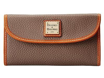 Dooney & Bourke Pebble Leather New SLGS Continental Clutch (Elephant w/ Tan Trim) Clutch Handbags