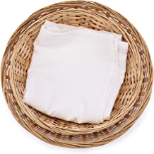 Round Bamboo Bread Basket and Tea Towel. Set of two baskets, 13-Inch and 11.5-Inch, and a Flour Sack Towel