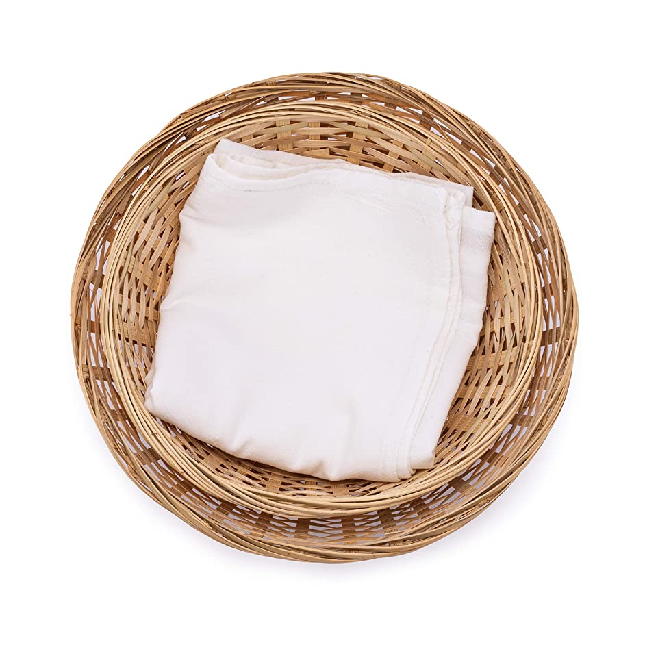 Round Bamboo Bread Basket and Tea Towel. Set of two baskets, 10-Inch and 8-Inch, and a Flour Sack Towel