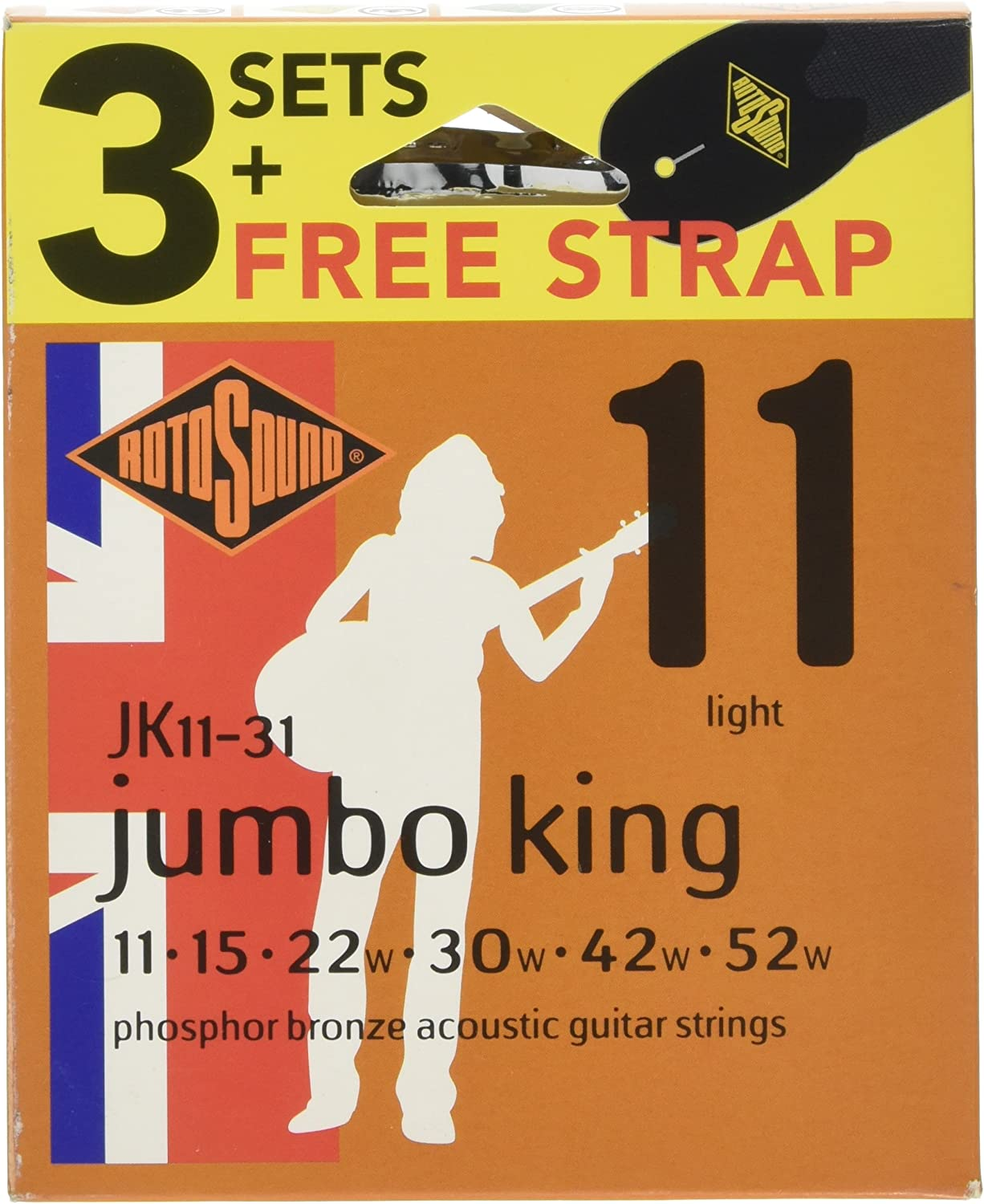 Ranking TOP10 Rotosound OFFicial shop JK11-31 Acoustic Guitar Strings of Pack 3 Strap with