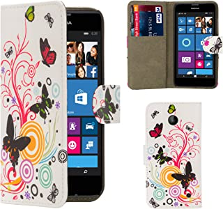 32nd Designer Book Style Faux Leather Flip Wallet Cover with Card Slots, Suitable for Lumia 640 XL Phone, Includes Screen Protector - Colour Butterfly Design