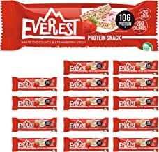 Everest Snacks Protein Snack - Healthy Protein Bars - Low Sugar Low Calorie Guilt-Free Sports Bars - High in Fibre and Protein - 15 x 40g Protein Bars - White Chocolate Strawberry Crisp