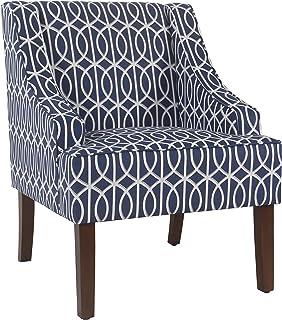 HomePop Swoop Arm Accent Chair, Blue Trellis
