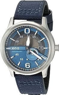 AVI-8 Men's Flyboy - Centenary 1980's Stainless Steel Japanese-Automatic Aviator Watch with Leather Strap, Blue, 22 (Model: AV-4061-02)