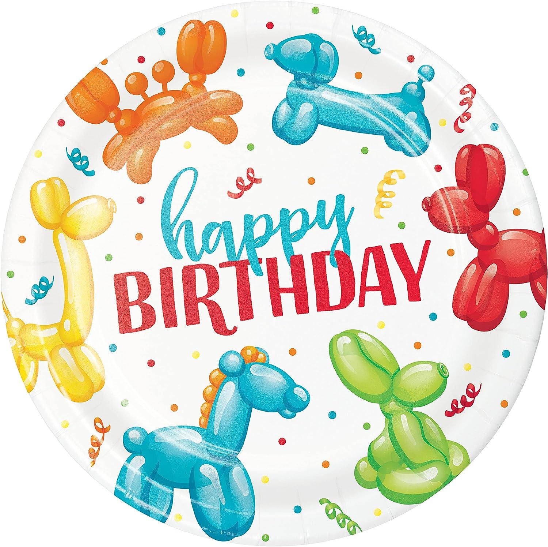 Party Balloon Animal Happy Birthday Paper Plates, 24 ct