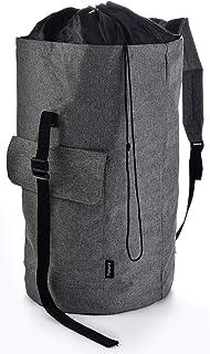 Backpack Camping Laundry Bag - Padded Adjustable Comfort Shoulder Straps, Front Pocket, Back Zippered Pocket, Drawstring C...