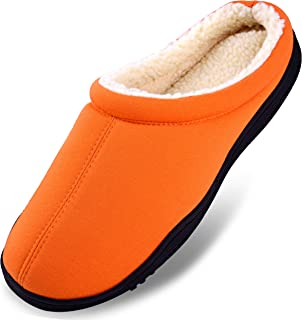 Dasein Men's Winter Warm Fleece Lined Memory Foam Slippers Slip On Clogs Indoor Outdoor House Shoes with Anti Skid Sole