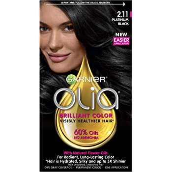 Garnier Olia Ammonia-Free Brilliant Color Oil-Rich Permanent Hair Color, 2.11 Platinum Black (Pack of 1) Black Hair Dye (Packaging May Vary)