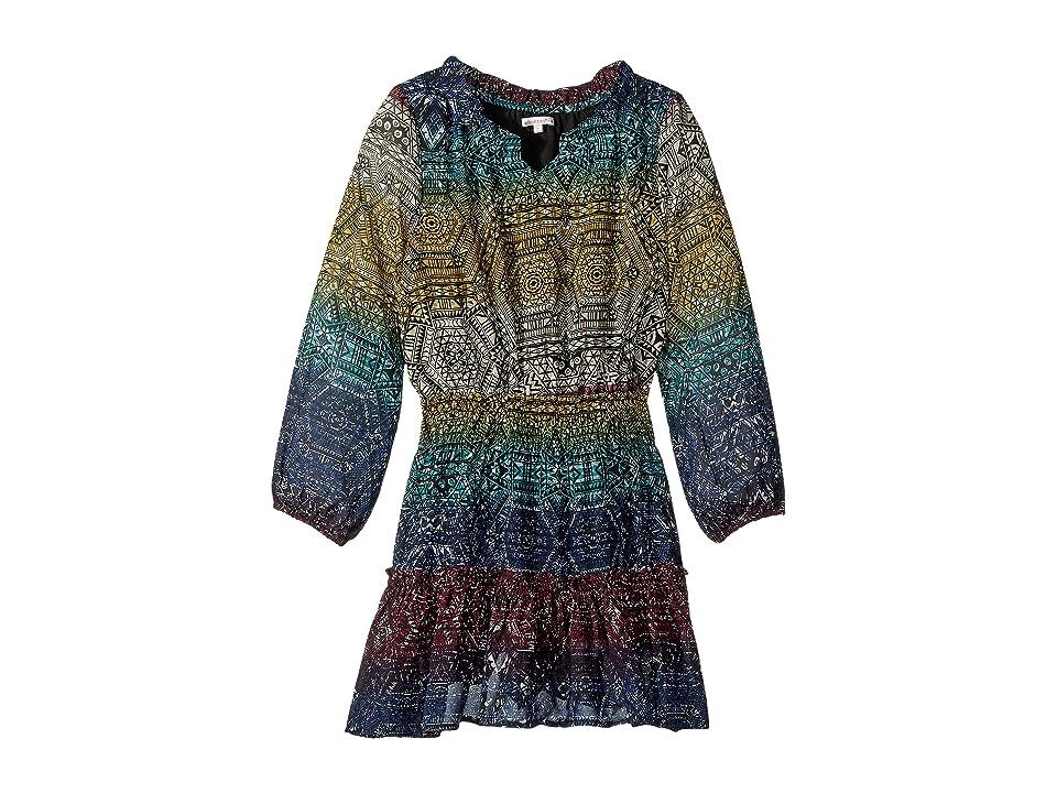Ella Moss Girl Aop Chiffon Dress (Big Kids) (Black Aop) Girl