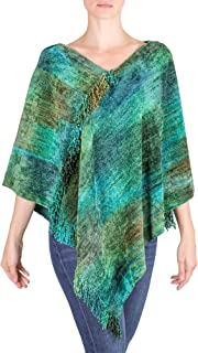 Green Cotton Blend Handcrafted Poncho, Emerald Valley'