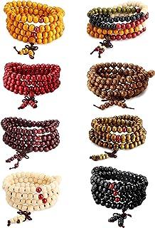 LOYALLOOK Wood Bracelet 108 Mala Bead Bracelets Buddhist Strand Wood Prayer Beads Sandalwood Link Wrist Necklace Chain for Men Women Chinese Knot 8pcs