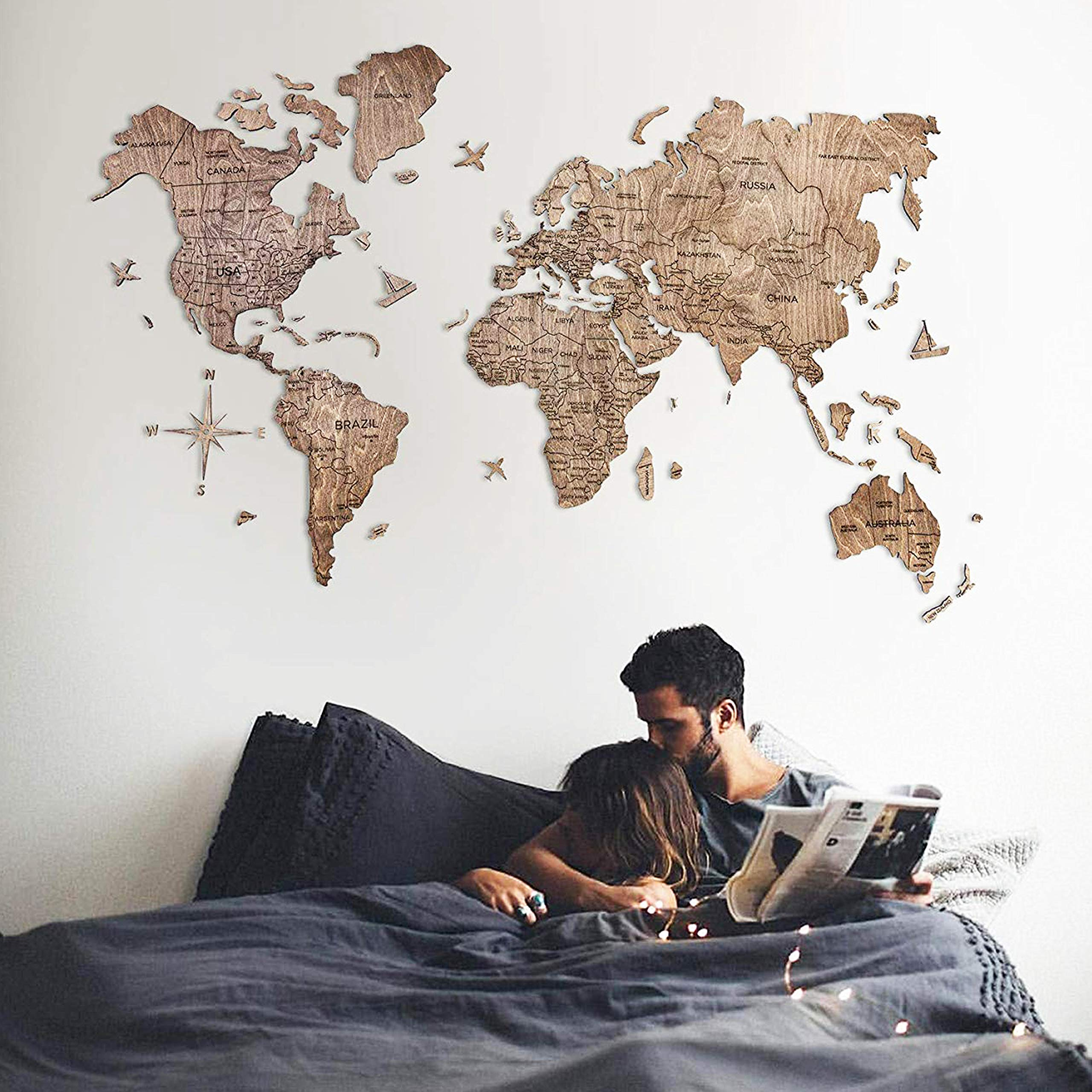 World Map Wood Wall Decor With Pins Larg Buy Online In Canada At Desertcart
