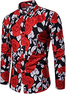 LEFTGU Men`s Rose Flower Printed Summer Fashion Slim fit Long Sleeve Button-Down Thin Shirt