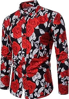 LEFTGU Men's Rose Flower Printed Summer Fashion Slim fit Long Sleeve Button-Down Thin Shirt