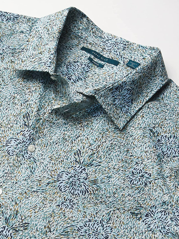 Perry Ellis Men's Short Sleeve All Over Oil Paint B&t Shirt