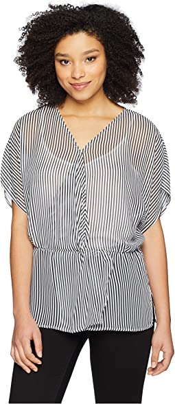 Drop Shoulder Island Pinstripe Cinch Waist Blouse