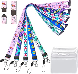 Lanyard with id Holder Badges Horizontal Hall Pass Lanyards with Badge Holders for Kids Women Keys Cruise Ship Card Breakaway Safety Lanyard for Keys Men Key Card 5 Pack Wide 2cm 34