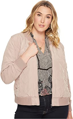 Plus Size Quilted Bomber Jacket