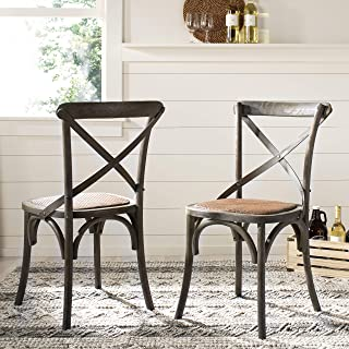 Safavieh American Homes Collection Franklin Farmhouse X-Back Distressed Colonial Walnut Side Chair (Set of 2)