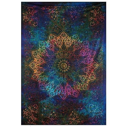 Genial Tapestries Intricate Blue Tie Dye Star Design Indian Bedspread Twin  Tapestry Hippie Wall Decor Mandala Bohemian