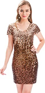 38675a4ed2 MANER Women s Sequin Glitter Short Sleeve Dress Sexy V Neck Mini Party Club  Bodycon Dresses