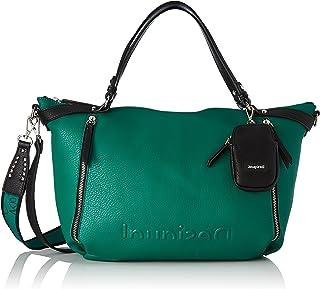 Desigual Womens BOLS_Embossed Half L Hand Bag, Green, One Size