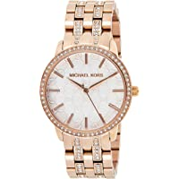 Michael Kors MK3183 Women's Lady Nini Watch with Crystal Bezel and White Logo Dial (Rose Gold Tone)