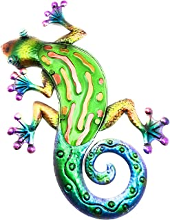 Gecko Metal Wall Decor 3D Design Hand Painted Bold Colors Large 17
