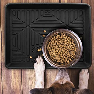 FH Group F16407BLACK-20 Multi-Purpose Pet Feeding Tray Dog Bowl Tray or Pet Bowl Tray Also a Boot Tray Shoe Tray Great for Entryway or Garage