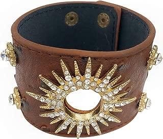 Gypsy Jewels Faux Leather Wide Gold Tone Studded Rhinestone Wrap Around Snap Punk Rock Biker Bracelet